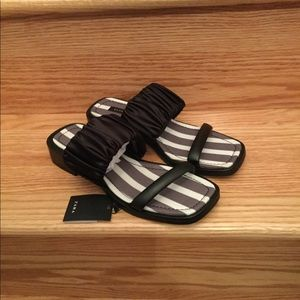 NEW ZARA! Black and White Striped Flat Sandal